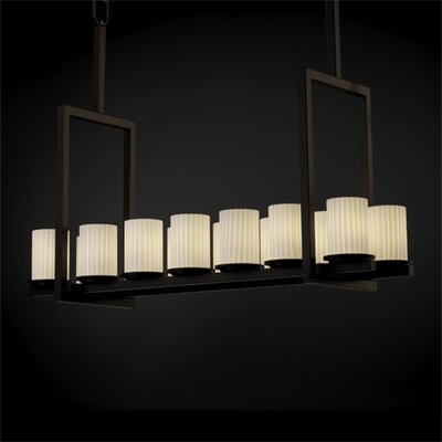 Justice Design Group Dakota Fusion 14 Light Tall Bridge Chandelier
