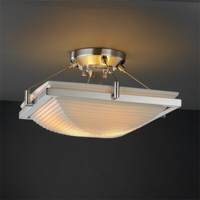 Justice Design Group Ring Porcelina Square Semi Flush Mount
