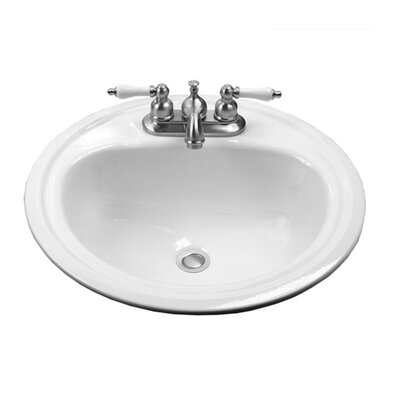 Crane Faucet Round Enameled Steel Atlanta Drop In Bathroom Sink