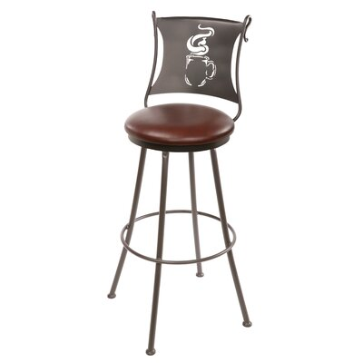 "Stone County Ironworks Coffee Cup 25"" Swivel Bar Stool with Cushion"