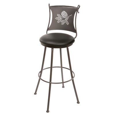 "Stone County Ironworks Pine Cone 25"" Swivel Bar Stool with Cushion"