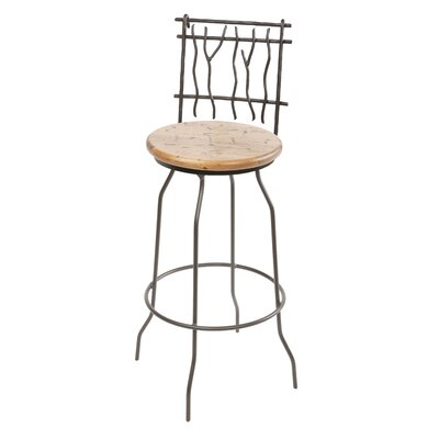 "Stone County Ironworks Sassafras 25"" Swivel Counter Height Barstool in Distressed Pine"