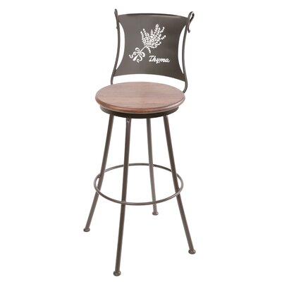 "Stone County Ironworks Thyme 25"" Swivel Counter Height Barstool in Oxblood Oak"