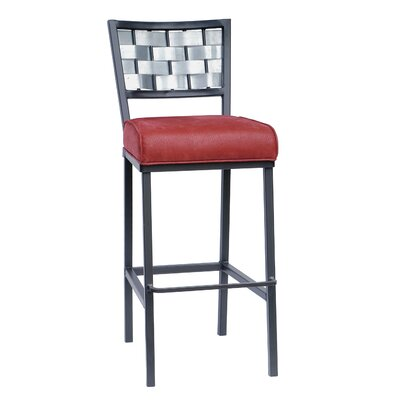 "Stone County Ironworks Rushton Faux 25"" Leather Counter Height Barstool"