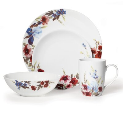 Mikasa Gourmet Basics Flower Garden 16 Piece Dinnerware Set