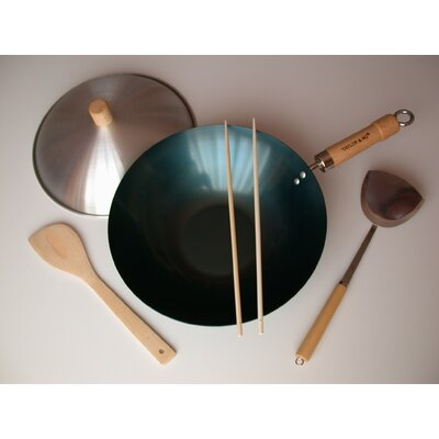 "Taylor & Ng 5 Piece 12"" Preseasoned Flat Bottom Wok Set"