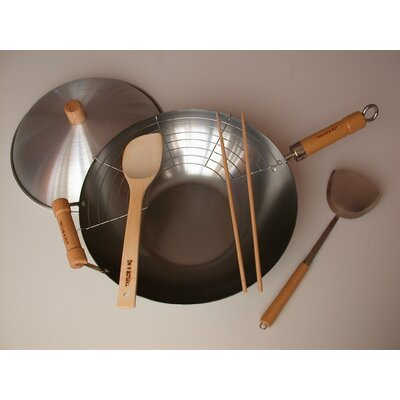 "Taylor & Ng 6 Piece 14"" Flat Bottom Wok Set"