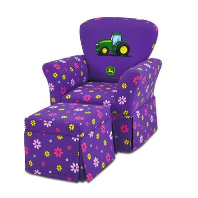 Kidz World Girl's Skirted Rocking Chair and Ottoman Set