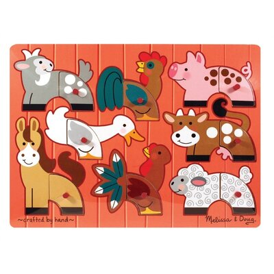 Melissa and Doug Farm Mix N' Match Wooden Peg Puzzle