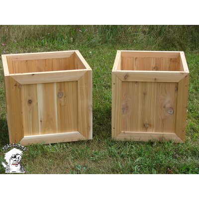 Buyers Choice Phat Tommy Square Western Cedar Garden Planter Box Set (Set of 2)