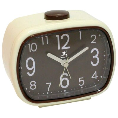<strong>Infinity Instruments</strong> That 70's Retro Alarm Clock in Cream with Brown Face