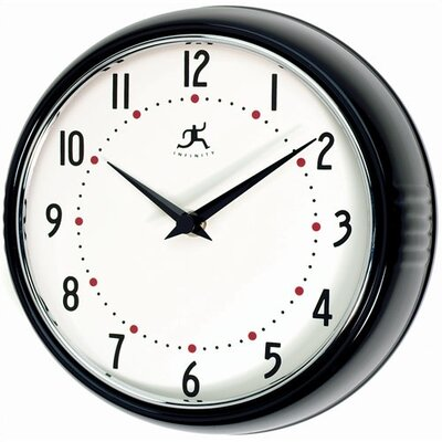 Retro Round Metal Wall Clock In Black