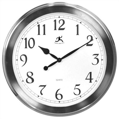 Infinity Instruments Faux Brushed Nickel Finish Wall Clock