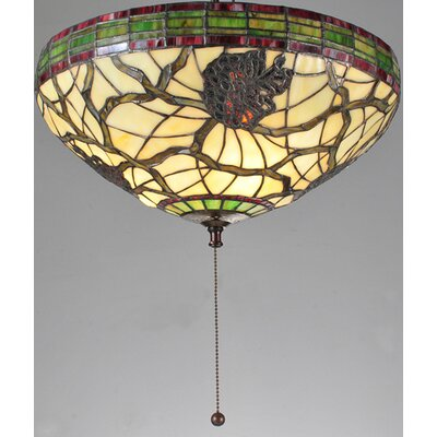 3 Light Lodge Tiffany Pinecone Dome Flush Mount