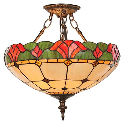 3 Light Victorian Tiffany Yale Semi Flush Mount