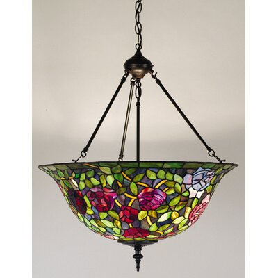 Victorian Tiffany Rosebush 3 Light Inverted Pendant