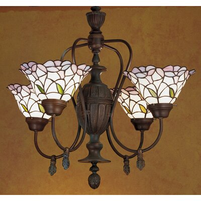 Victorian Tiffany Daffodil Bell 4 Light Chandelier