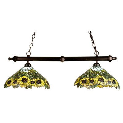 Tiffany Wild Sunflower 2 Light Kitchen Island Pendant