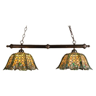 Tiffany Duffner and Kimberly Shell and Diamond 2 Light Kitchen Island Pendant