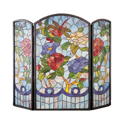 Dragonfly Flower 3 Panel Fireplace Screen