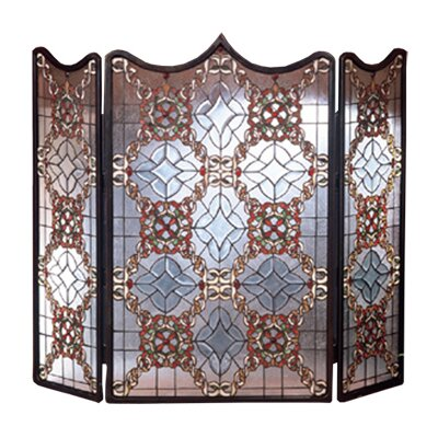Meyda Tiffany Victorian Beveled 3 Panel Fireplace Screen