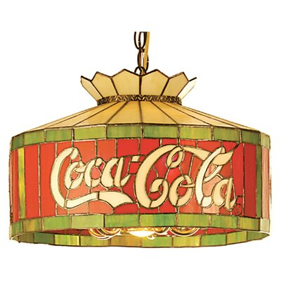 Tiffany Art Glass Americana Recreation 6 Light Coca-Cola Pendant