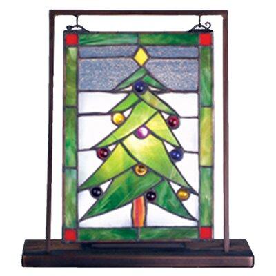 Meyda Tiffany Christmas Tree Lighted Mini Tabletop Window Table Lamp