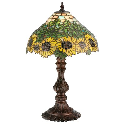 Meyda Tiffany Wild Floral Art Glass Country Sunflower Accent Table Lamp
