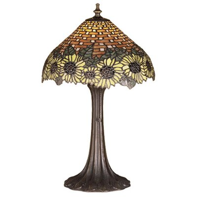 Meyda Tiffany Wicker Floral Sunflower Accent Table Lamp