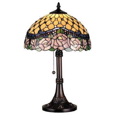 Meyda Tiffany Victorian Tiffany Nouveau Jeweled Rose Table Lamp