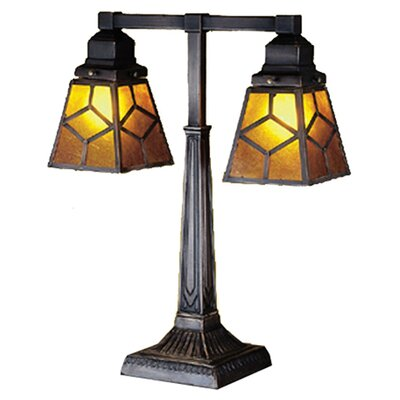 Southwest Amber Mica Diamond Mission Two Arm Desk Lamp