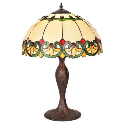 Meyda Tiffany Victorian Tiffany Fleur-De-Lis Bent Panel Table Lamp