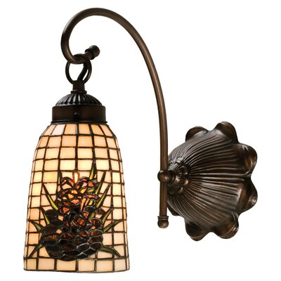 Meyda Tiffany Lodge Tiffany Floral Pine Barons 1 Light Wall Sconce