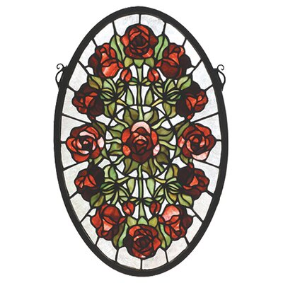 Meyda Tiffany Tiffany Nouveau Oval Rose Garden Stained Glass Window