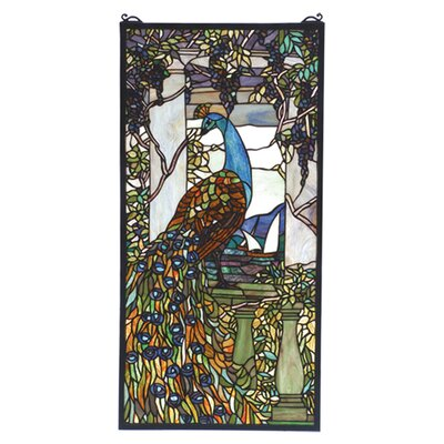 Meyda Tiffany Victorian Nouveau Tiffany Peacock Wisteria Stained Glass Window