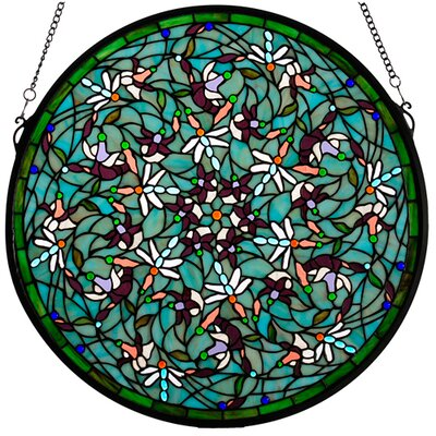 Meyda Tiffany Tiffany Nouveau Insects Dragonfly Swirl Medallion Window in Green