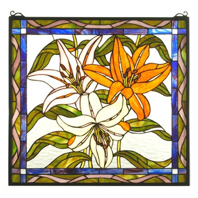 Meyda Tiffany Tiffany Floral Nouveau Tigerlily Stained Glass Window