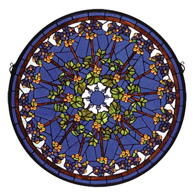 Meyda Tiffany Violet Rosette Medallion Stained Glass Window