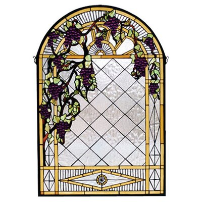 Meyda Tiffany Tiffany Floral Country Grape Diamond Trellis Stained Glass Window
