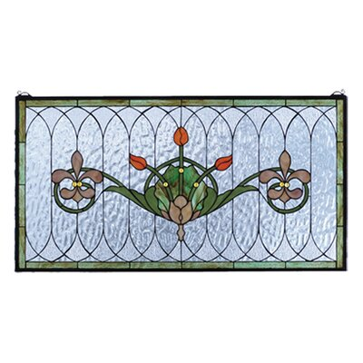 Meyda Tiffany Floral Nouveau Recreation Tulip and Fleurs Stained Glass Window