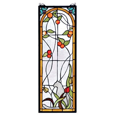 Meyda tiffany tiffany cat and tulips stained glass window for Narrow windows for sale