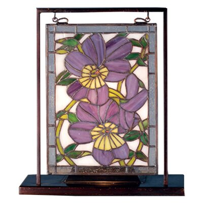 Meyda Tiffany Floral Pansies Lighted Mini Table Lamp