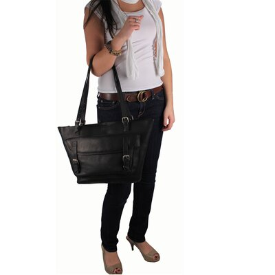Latico Leathers Addison Large Top Zip Buckle Tote Bag