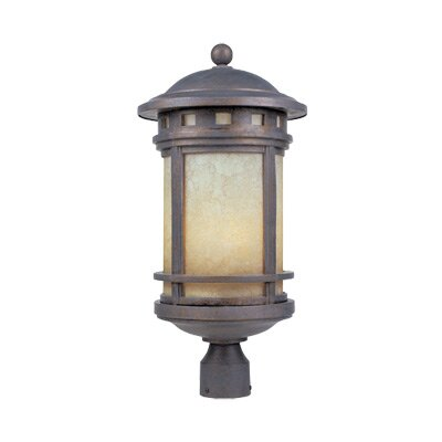 Designers Fountain Sedona  Cast Post Lantern with Amber Glass in Mediterranean Patina