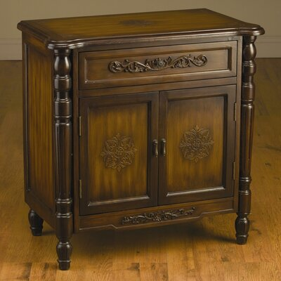 AA Importing 2 Drawer Cabinet with Carved Design