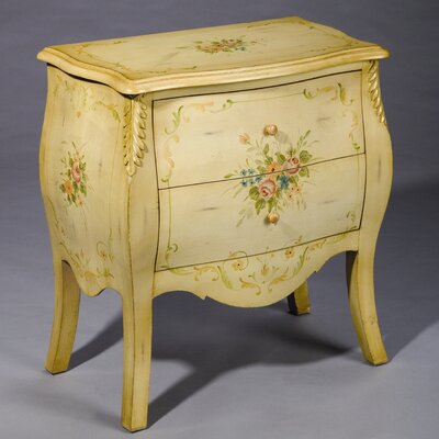 AA Importing Two Drawer Commode Chest in off White