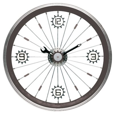 Bike Wall Clock with Aluminum Rim in Black