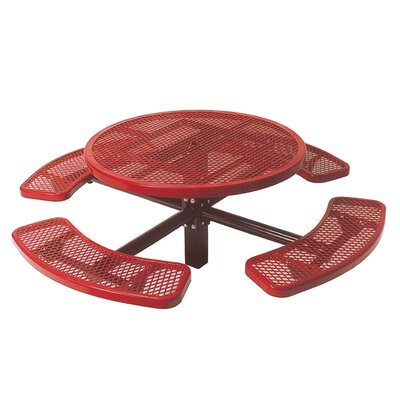 Ultra Play Single Pedestal Inground Round Picnic Table with Diamond Pattern