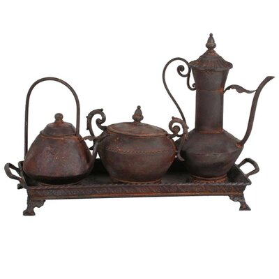 Privilege Four Piece Ancient Tea Pot Set and Tray