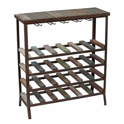 24 Bottle Iron and Wood Wine Rack